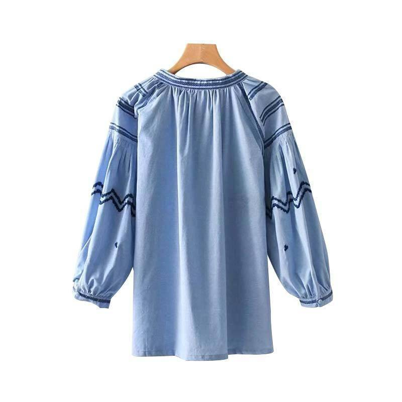 Clothing Plus Size - Embroidery tassel tie shirts oversized long sleeve blouse (US 18W-24W)