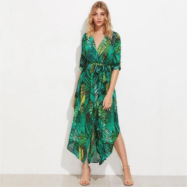 Clothing Plus Size  Green Chiffon Long Summer Dresses Sexy V-Neck Beach Maxi Dress Elegant Slim Floral Print Party Dresses vestidos (US 18W-26W)