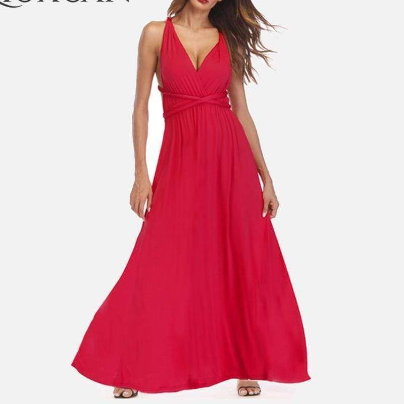 Clothing Plus Size - Infinity Convertible Wonder Dress,  20 Colors Summer Maxi Party Dresses Multiway Swing Dress  Wrap Dress (US 8 - 18 W)