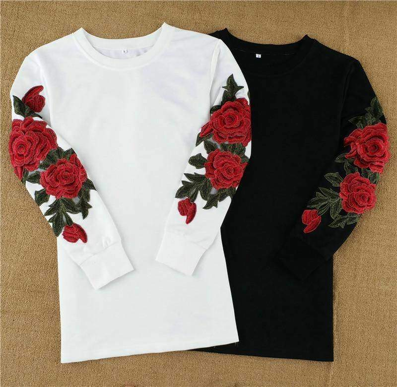 clothing Plus Size Rose floral Embroidery Long Sleeve Pullovers Sweatshirt Hoodies S-5XL