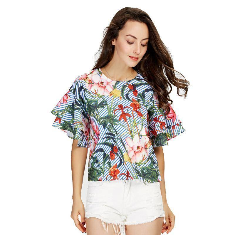 Clothing Plus Size - Sweet ruffles loose floral shirts flower print tops (US 14-18W)