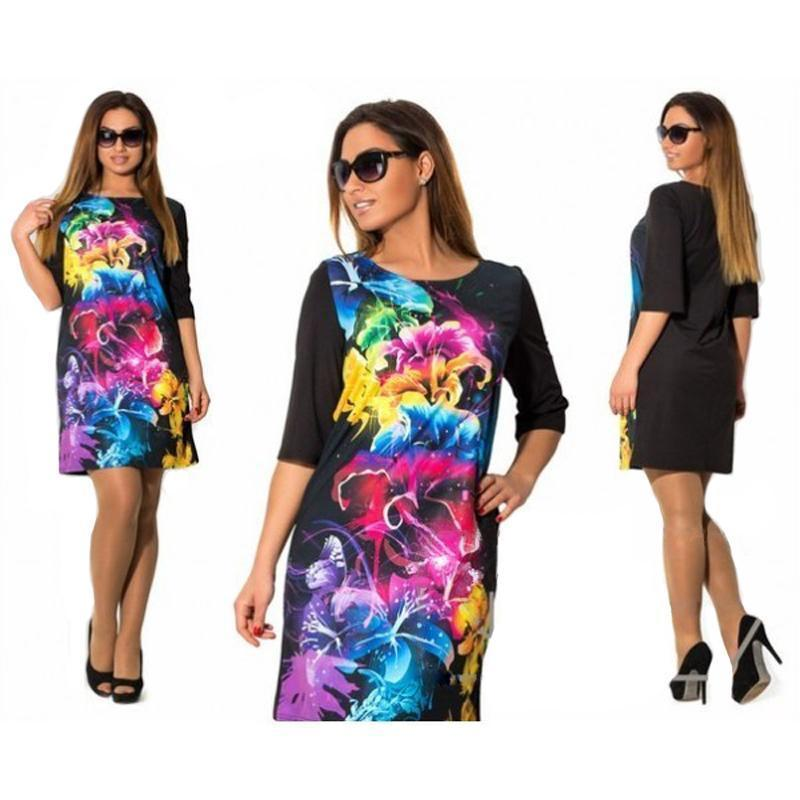 Clothing Plus Size - Women Clothing Summer Dress Big Size 6XL Women Dress Print 5XL Dress Black Casual Mini 4XL Party Dresses Vestidos ( US 12-22W)