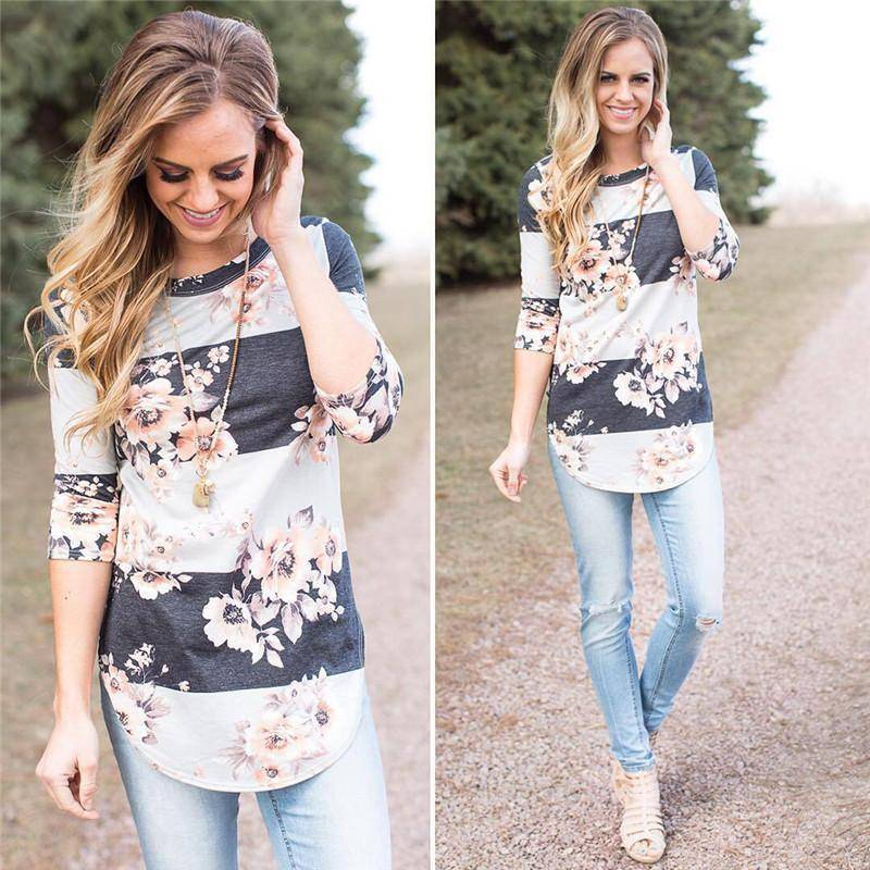 Clothing Printed Floral Flower T Shirt Women Top Tees