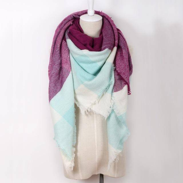 clothing purple Oversize Solid Color Winter Square Scarf, XL Women Blankets,  Luxury Shawl 140cm x 140cm