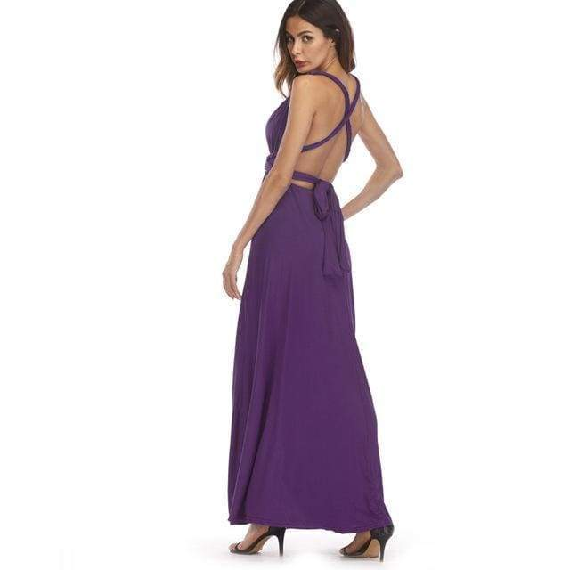 Clothing Purple / S (US 8-10) Plus Size - Infinity Convertible Wonder Dress,  20 Colors Summer Maxi Party Dresses Multiway Swing Dress  Wrap Dress (US 8 - 18 W)