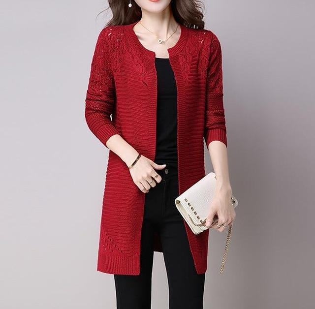 Clothing Red / M (US 2-4) Fall Women Cardigan Solid Color Hollow Out Sweaters Size S-XXL Poncho Full Sleeve Open Stitch Female Knitted Outerwear (US 2-12)