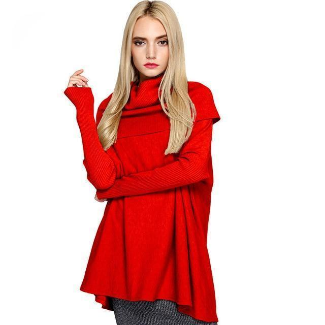 Clothing red / One Size Women Sweaters And Pullovers Easy Knitting Unlined Upper Garment Long Sleeve Knitting Sweater Woman (US 26W)