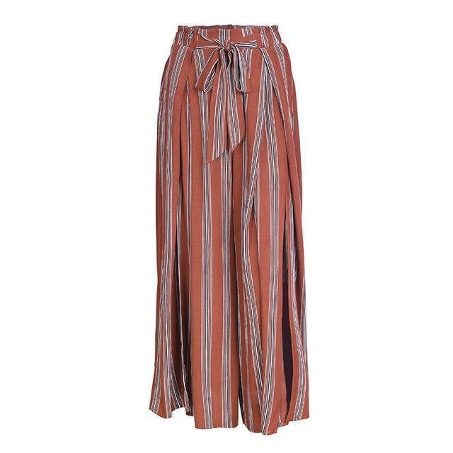 Clothing Red / S (US 2-4) High split stripe  high waist wide leg pants