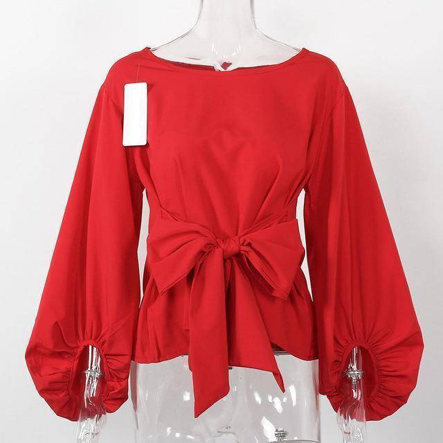 clothing Red / S (US 4-6) Chiffon Wrap Blouse Women Shirts  Lantern Long Sleeve (US 4-12)