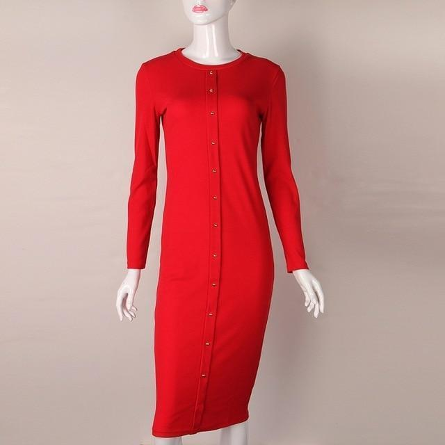 Clothing Red / S (US 4-6) Knitting Autumn Winter Dress Warm Women Knitted Dress Mid-calf Package Hip Sheath Bodycon Dress Elegant Office Pin Up LX062 (US 4-14)
