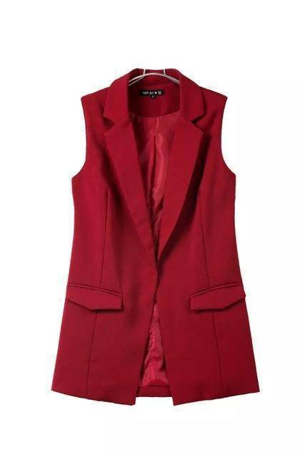 Clothing red / S (US 4-6) new fashion waistcoat women no button black jacket women sleeveless blazer jacket white casual outwear (US 4-12)