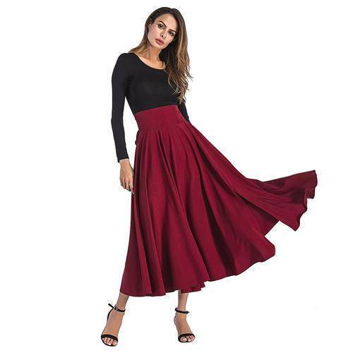 Clothing Red / S (US 6-8) Maxi Skirt vintage Retro High Waist Pleated  Long Skirts Back Bow with Belt (US 6-16)