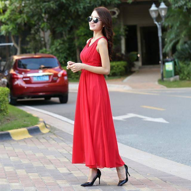 Clothing Red / S (US 6) Bohemian Dress Slim Sleeveless Beach V-Neck 6 Color Cute Style (US 6-12)