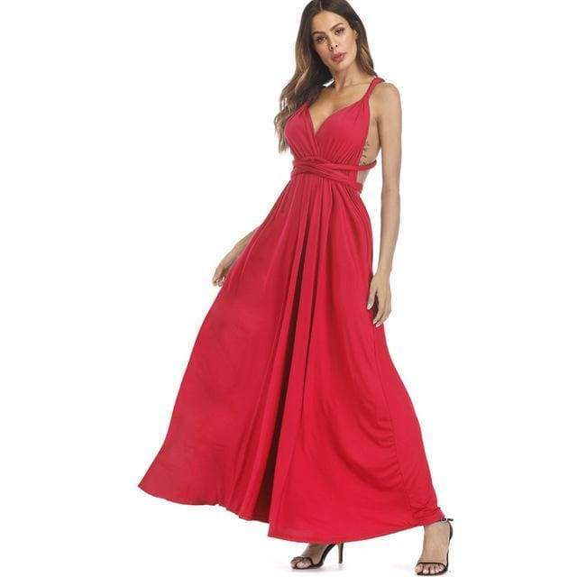Clothing Red / S (US 8-10) Plus Size - Infinity Convertible Wonder Dress,  20 Colors Summer Maxi Party Dresses Multiway Swing Dress  Wrap Dress (US 8 - 18 W)