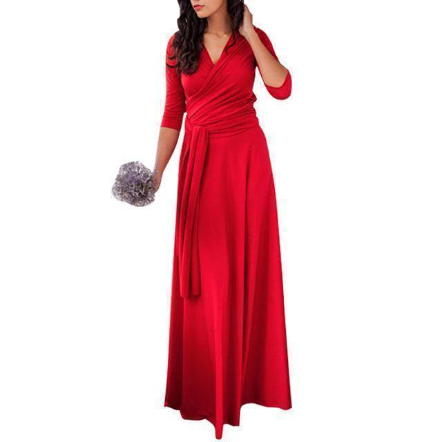 clothing Red / US 2 - 4 The Wonder Dress - Long Sleeve Design, Multi way, infinity convertible dreses,  Petite Sizes (US 2- 10)