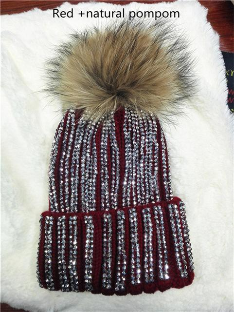 Clothing red with natural pom Removable Winter Warm Fur Pom pom Knitted bling Hats,  Skullies Beanie With 15cm Fur Ball