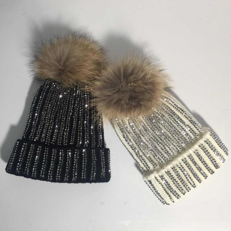 Clothing Removable Winter Warm Fur Pom pom Knitted bling Hats,  Skullies Beanie With 15cm Fur Ball