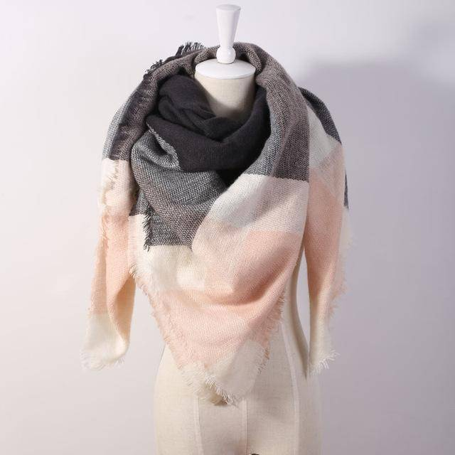 clothing rose Oversize Solid Color Winter Square Scarf, XL Women Blankets,  Luxury Shawl 140cm x 140cm