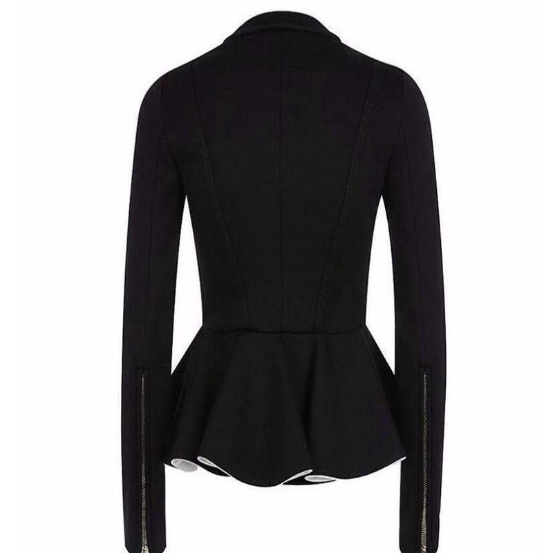 Clothing Ruffles Coat Peplum Short Slim Outerwear Gothic Black Zipper Jacket (US 4-16)
