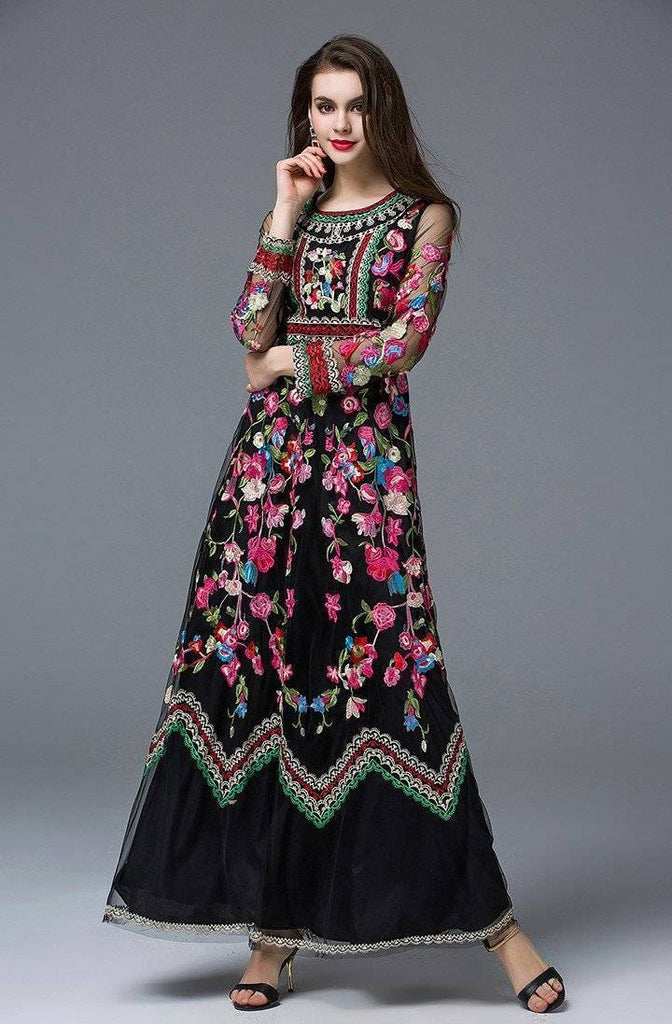 Clothing Runway Designer, Long Gauze Floral Embroidery Dress (US 4-16)