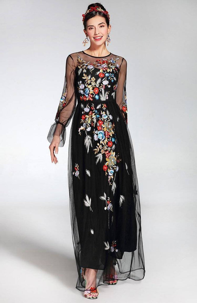 Clothing Runway Tulle Gauze Sleeves, with Floral Embroider Vintage Long Dress (US 4-16)