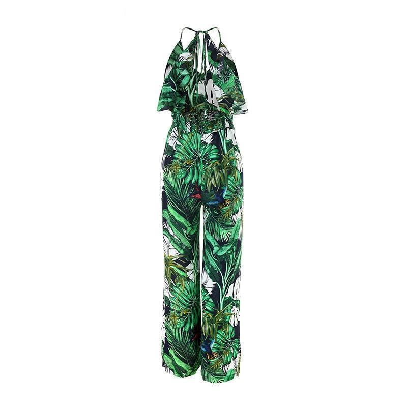 Clothing S (US 10-12) Boho Green Ruffle Leaf Print Sexy Jumpsuit (US 10-16)