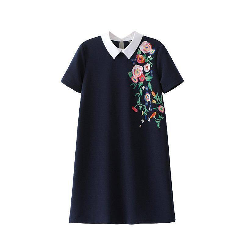 clothing S (US 10-12) Sweet floral embroidery Long Shirt / Mini dress (US 10 - 12)