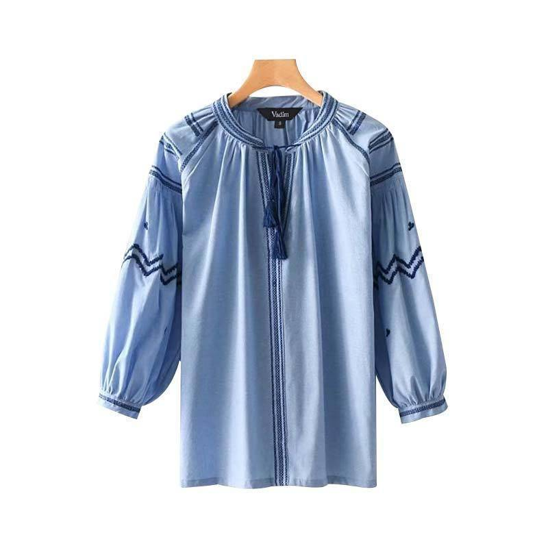 Clothing S (US 18W-20W) Plus Size - Embroidery tassel tie shirts oversized long sleeve blouse (US 18W-24W)