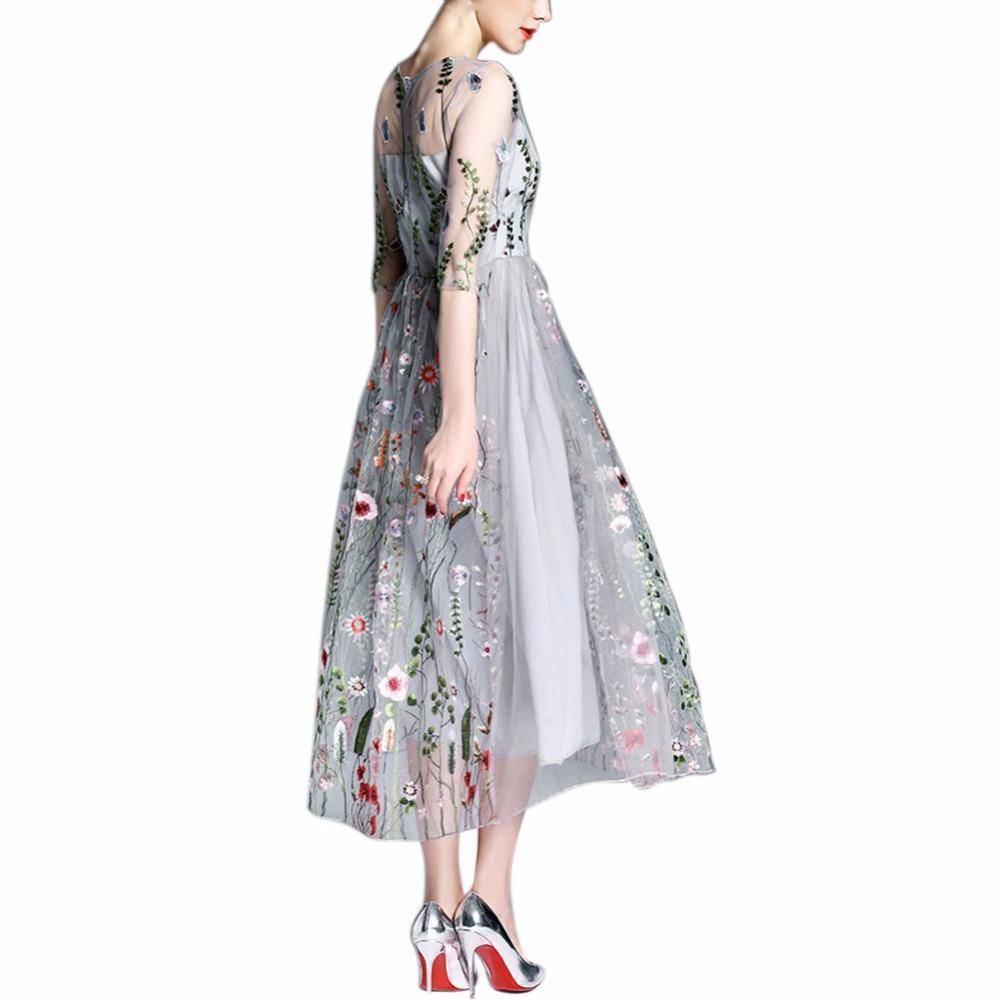clothing S (US 2-4) Embroidery Ankle Floral Knee length Lining Dress US 10-12
