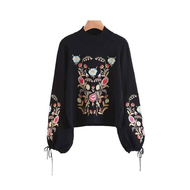 Clothing S (US 2-4) Floral embroidery bow tie sleeve black pullover (US 2-8)