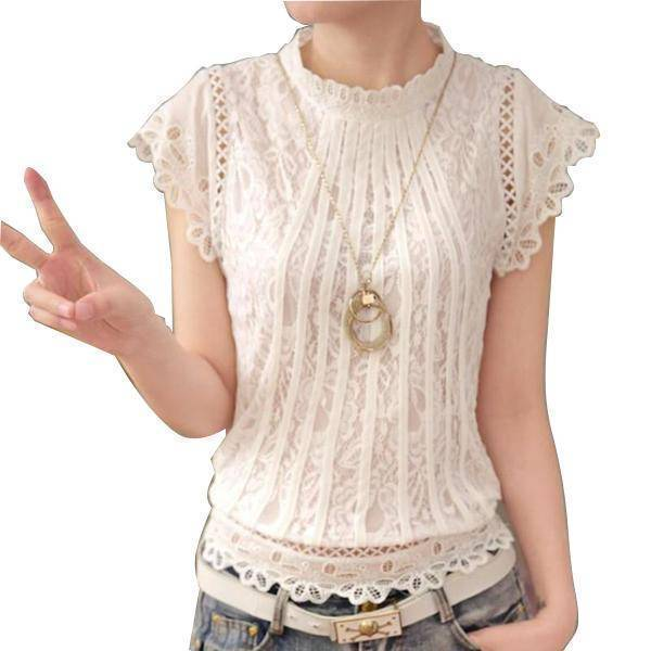 Clothing S (US 2) Short Petal Sleeve Floral Lace Tops  Chiffon Blouse Shirt  (US 2-16)