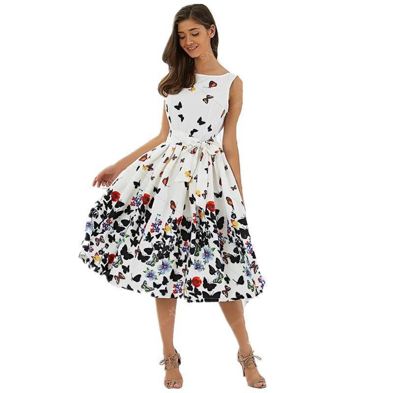 Clothing S(US 4-6) Butterfly Summer Dress (US 4-14)