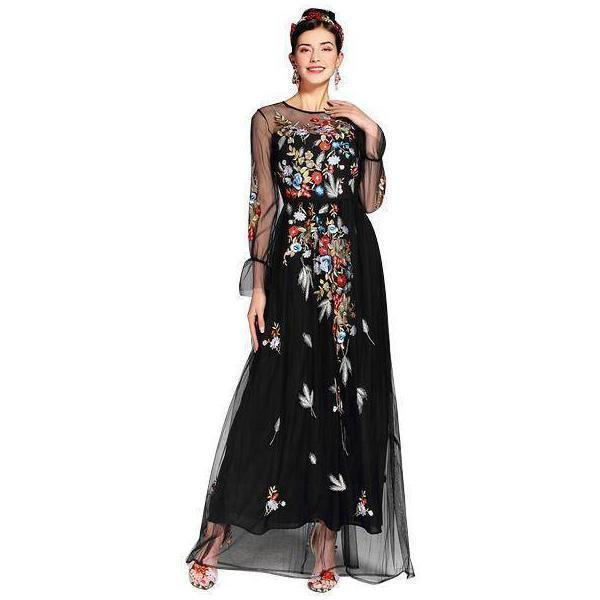 Clothing S (US 4-6) Runway Tulle Gauze Sleeves, with Floral Embroider Vintage Long Dress (US 4-16)