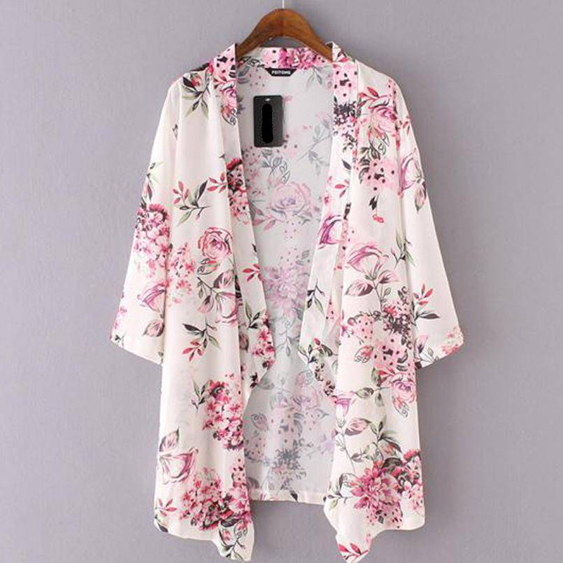 Clothing S (US 4) Beachwear Cardigans Floral Print Chiffon Long Kimono (US 4-8)