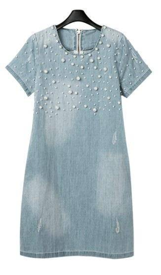 Clothing S (US 4) Plus Size - Denim Jeans Pearl Beaded Casual O Neck Long Shirt / Mini Dresses (US 4 - 22W)