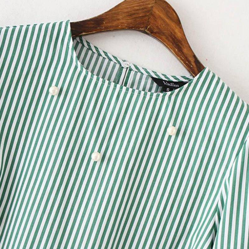 clothing SALE! Pearls beading striped shirts with flare sleeves (US 2-14)
