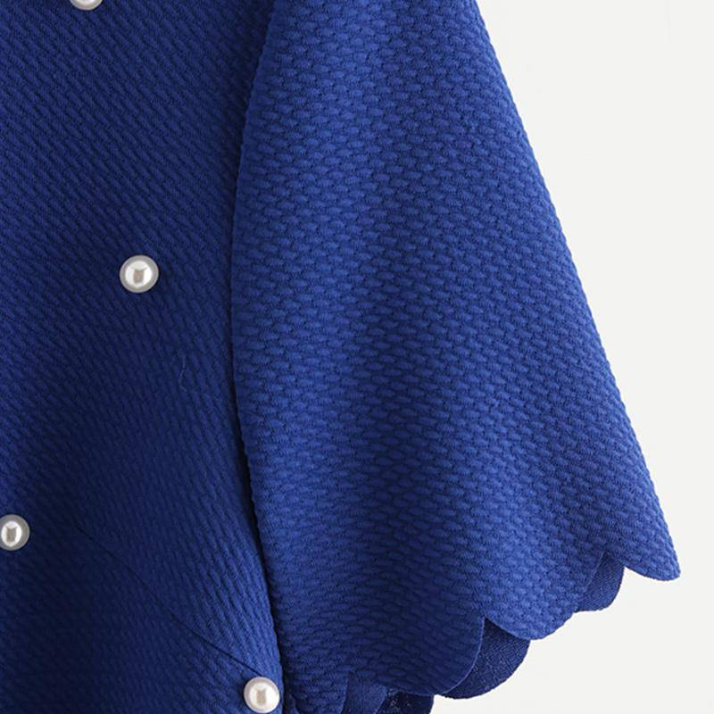 Clothing Scallop Trim Pearl Embellished Women Blouse Royal Blue Shirt Short Sleeve Cute Tops Elegant Ladies Blouse (US 6-16)