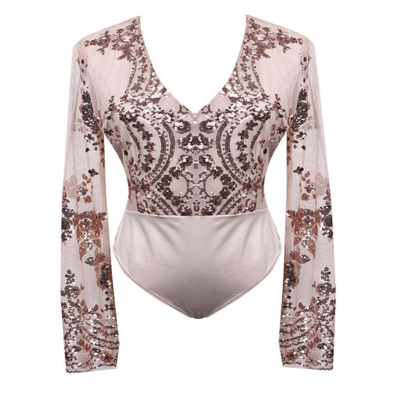 Clothing Sequins Women Sexy Leotard Top with shorts playsuit Ladies Patchowrk V Neck see through blouse long sleeve mesh top shorts (US 2-12)