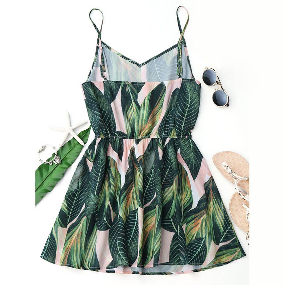 Clothing Sexy Beach Dress Women Mini Summer Dress Leaf Print Sleeveless V Neck Spaghetti Strap Elastic Waist Dress (US 4-12)