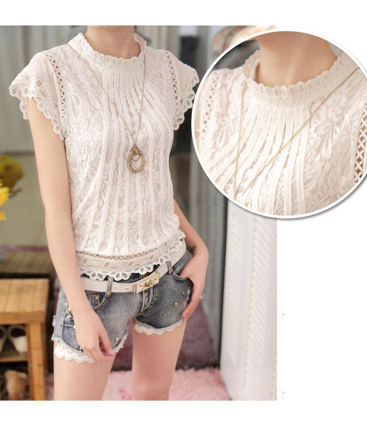 Clothing Short Petal Sleeve Floral Lace Tops  Chiffon Blouse Shirt  (US 2-16)