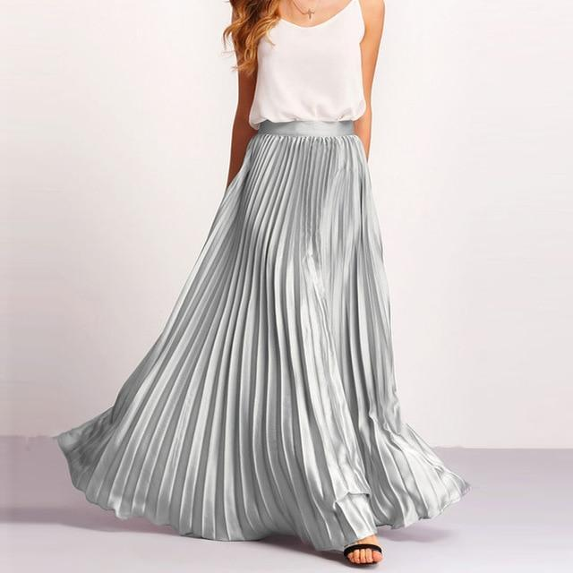 Clothing Silver / S Custom Made Pleated Maxi Women's Skirt, handmade with High Waist zipper,  Floor Length Women Long Skirt Comfortable Chiffon