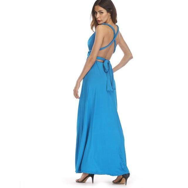 Clothing Sky Blue / S (US 8-10) Plus Size - Infinity Convertible Wonder Dress,  20 Colors Summer Maxi Party Dresses Multiway Swing Dress  Wrap Dress (US 8 - 18 W)