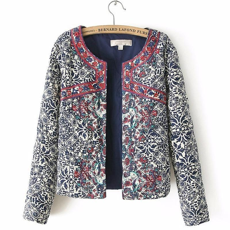 Clothing spring autumn Retro Print Blue White Round Neck Full Sleeve Jacket Female Embroidered Coat For Women Embroidery Slim tops (US 4-10)