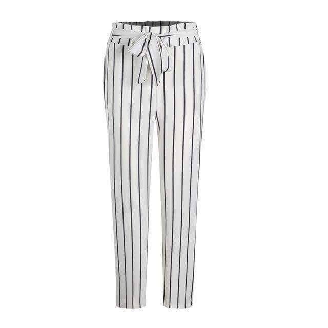 Clothing Striped Strechy Elastic High Waist Harem Pants Women Bowtie Belt Slim Long Trousers Women's Casual Capris With Pockets (US 2-16)