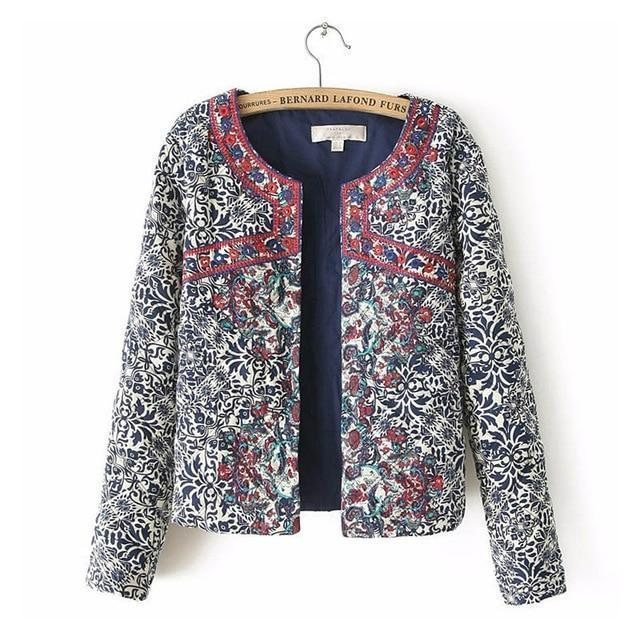 Clothing Style1 / S (US 4-6) spring autumn Retro Print Blue White Round Neck Full Sleeve Jacket Female Embroidered Coat For Women Embroidery Slim tops (US 4-10)