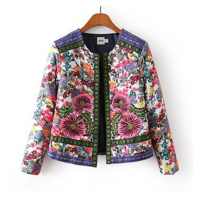 Clothing Style2 / S (US 4-6) spring autumn Retro Print Blue White Round Neck Full Sleeve Jacket Female Embroidered Coat For Women Embroidery Slim tops (US 4-10)
