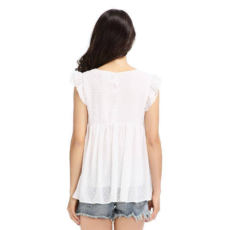 Clothing Sweet floral embroidery pleated ruffled shirt cute sleeveless vintage doll blouse  (US 8-16)