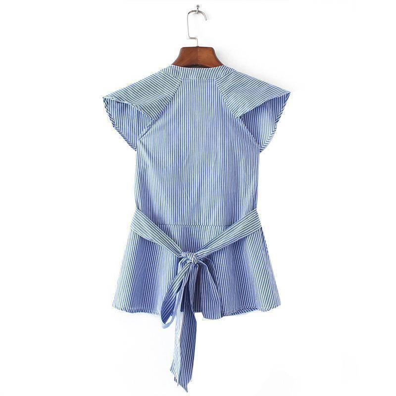 Clothing Sweet ruffles striped blue shirts sexy v-neck sashes short sleeve  (US 4-14)