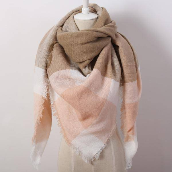 clothing tan Oversize Solid Color Winter Square Scarf, XL Women Blankets,  Luxury Shawl 140cm x 140cm