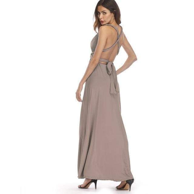 Clothing Tan / S (US 8-10) Plus Size - Infinity Convertible Wonder Dress,  20 Colors Summer Maxi Party Dresses Multiway Swing Dress  Wrap Dress (US 8 - 18 W)